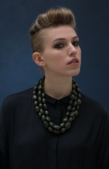Women's Uovo Short Wood Necklace Model View by Elk The Label