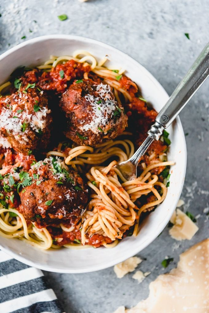 Made With Both Ground Beef And Ground Pork With Italian Herbs Parmesan Cheese And A Flavorful Easy Hom Beef Recipes Best Spaghetti Spaghetti And Meatballs