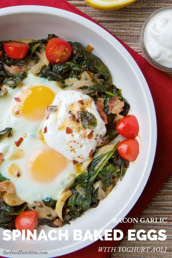 This amazing Bacon Spinach Baked Eggs with Garlic Lemon Yogurt Aoli Recipe is a Low Carb meal that is quite delicious. Serves up great for breakfast OR dinner! via @jeanabeena