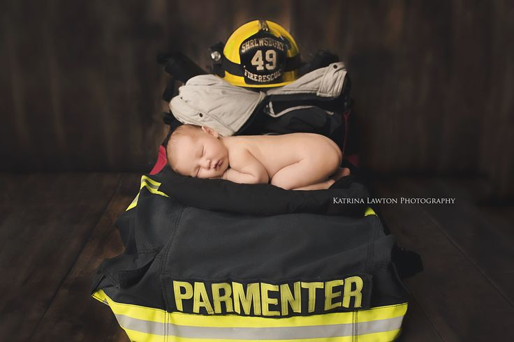 Real Hero's don't wear capes! Newborn Firefighter inspiration Katrina Lawton Photography  Fire Fighter