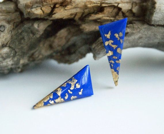Blue triangle studs earrings with gold flakes by InviolaJewerly