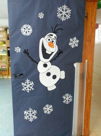 Puerta de olaf invierno infantil for Decorar puertas navidad infantil