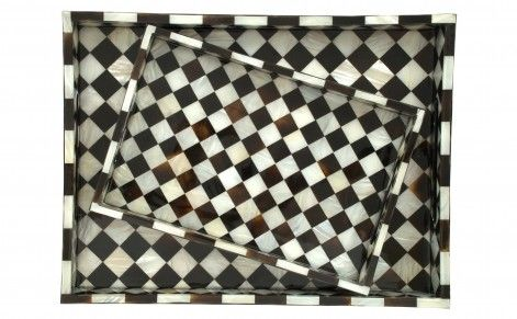 Checker Mother of Pearl Trays
