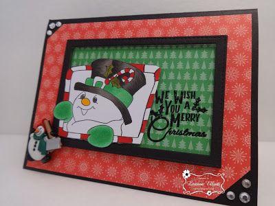 "ONECRAZYSTAMPER.COM window frame card by Leanne using High Hopes Stamps ""Candy Cane Snowman"" (RR002UM)"