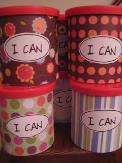 """Each child has an """"I can"""" tub which are filled with slips of paper saying what they are able to do (done in a lesson on strengths and weaknesses) which they can dip into to use as a pick me up if they are having a bad day."""