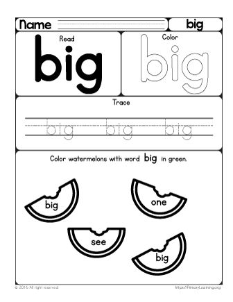 With this worksheet, your preschooler will learn the sight word big. She will find here fun activities and learn to read and write. She will learn to identify this word among the others and color watermelons with this word.Looking for more hands-on activities? Check these