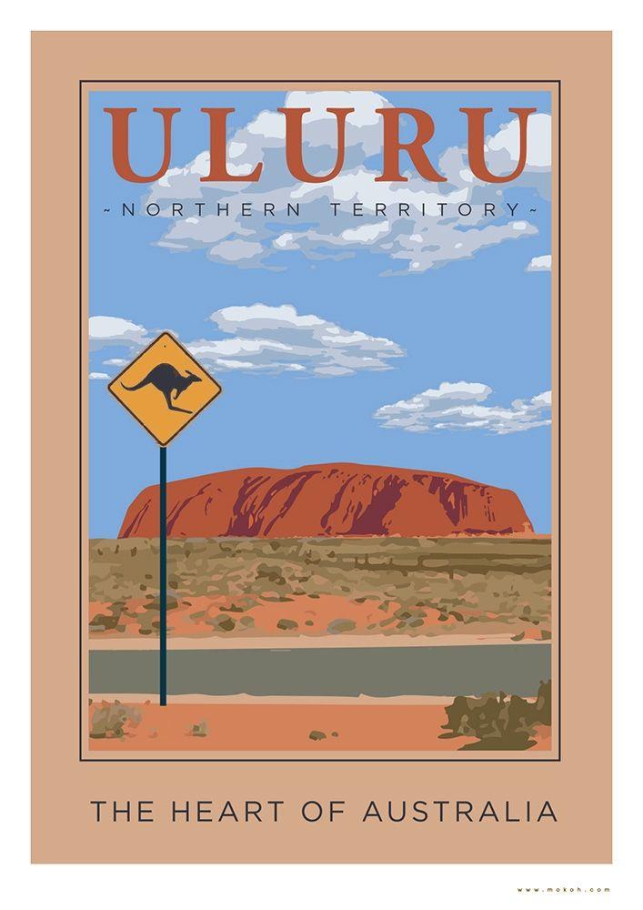 Vintage Uluru Poster - hardtofind.