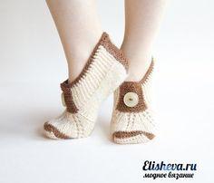 """Стильные тапочки-носки """"Душевные"""" вязаные спицами"""