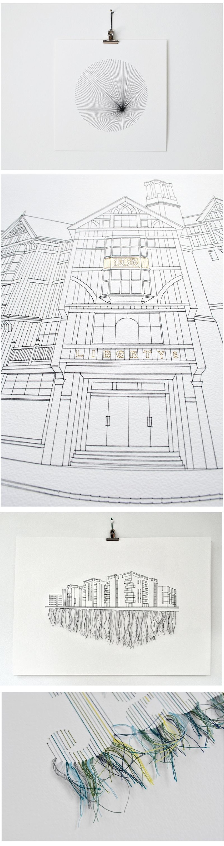 stitched illustrations created by British artist, Peter Crawley