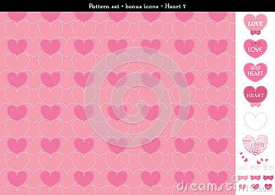 Seamless Heart Backgrond In Rose Pink Color Theme With Bonus Icons - 7 - Download From Over 61 Million High Quality Stock Photos, Images, Vectors. Sign up for FREE today. Image: 94341564