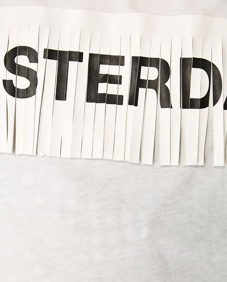 Image 5 of T-SHIRT WITH SLOGAN AND FRINGES from Zara