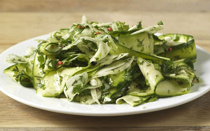 This raw courgette and fennel salad, with chilli, mint and ewe's-milk cheese…