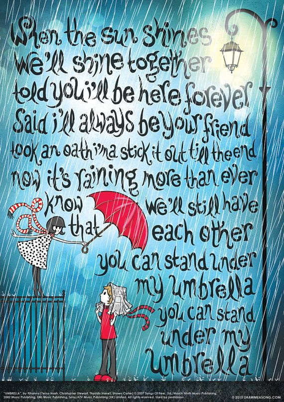 Umbrella Rihanna Typography Lyrics Poster Pop Song by DrawMeASong, $10.00