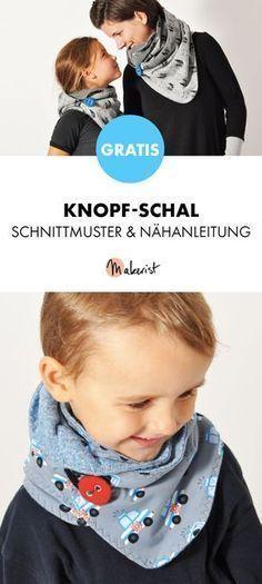 Gratis Anleitung: Knopf-Schal selber nähen - Schnittmuster und Nähanleitung via Makerist.de