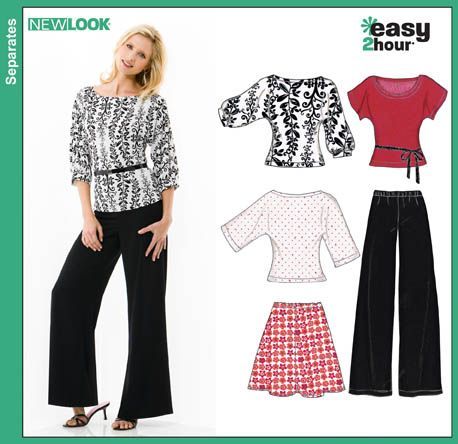 New Look 6816 from New Look patterns is a Misses Easy Two-Hour Skirt, Pants and Knit Tops sewing pattern