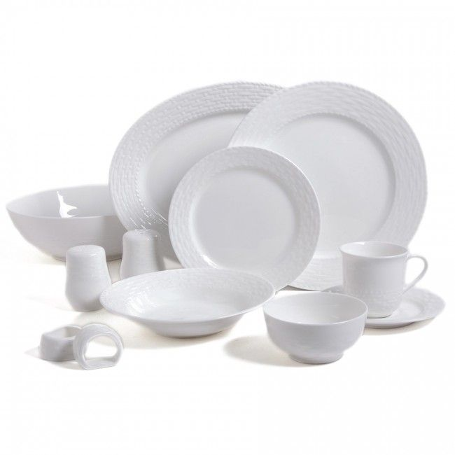 Gibson Home Sarasota 46 Piece Dinnerware Set, White