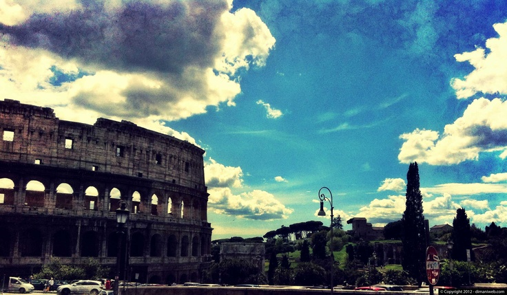 Rome under a blue and clouded sky