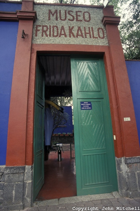 The Museo Frida Kahlo, also known as the Blue House or Casa Azul, in Coyoacan, Mexico City. Mexican artist Frida Kahlo was born this house and lived in it with her husband Diego Rivera from 1929 until 1954.