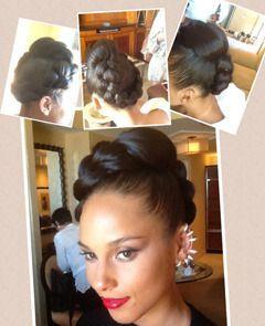 alicia keys mohawk braided hairstyles for black women   Alicia Keys Billboard Awards Updo