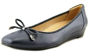 Naturalizer Dove Women Open Toe Leather Blue Wedge Heel.