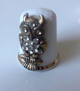 Beautiful Albertine Jewelled Owl Fine Bone China Thimble   | eBay