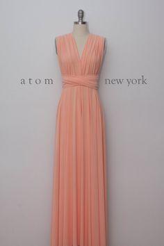 Peach Floor Length Ball Gown Long Maxi Infinity Dress Convertible Formal Multiway Wrap Dress Bridesmaid Dress Evening Dress