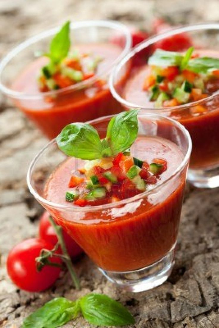 Cold soup Gazpacho, which is a vegetable cream that includes tomato, cucumber, garlic, paprika, olive oil, and vinegar. http://foodmenuideas.blogspot.com/2013/09/spanish-food-and-drinks-tapas-gazpacho.html