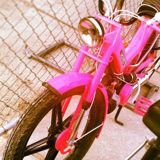 Instagram media by dollandoates - someone please get me this bike #moped #pink #hotpink #founders #michigan #grandrapids #dead