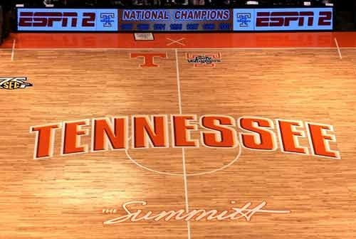 """I want to replicate the floor of the basketball court at Thompson-Boling Arena--named """"The Summitt"""" for 8-time NCAA champion coach of the Tennessee Lady Vols, Pat Summitt--for the floor (or perhaps on the wall behind the wet bar) of my """"Girl Cave."""""""