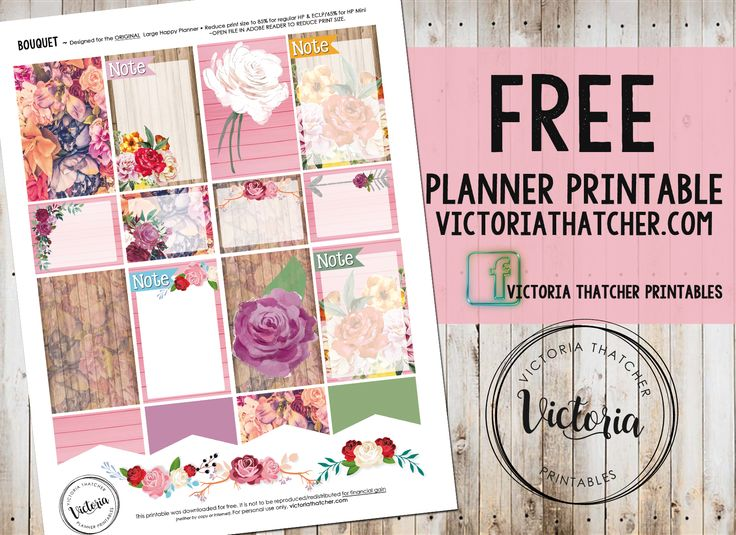 Free Printable Bouquet Planner Stickers from Victoria Thatcher