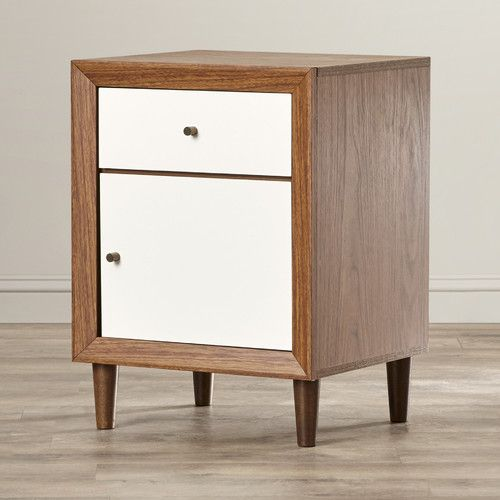 Features:  -Solid wood legs.  -Dark walnut and white finish.  -Wooden knobs.  Frame Material: -Wood.  Finish: -White and walnut.  Top Finish: -Walnut.  Style (Old): -Modern/Mid-Century. Dimensions:  O