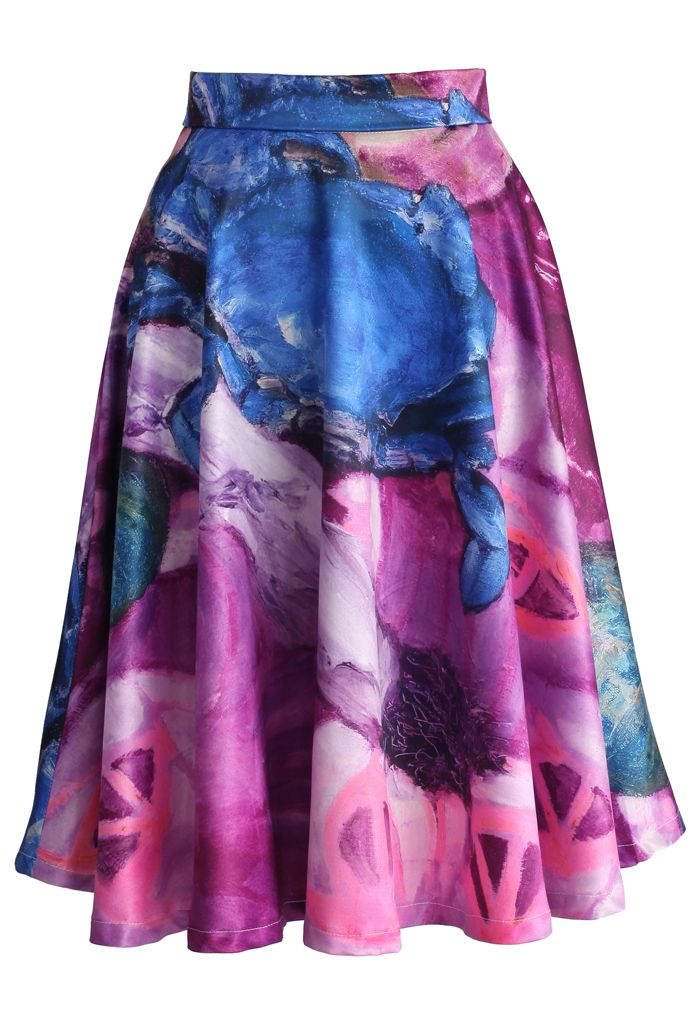 Feast of Chic Midi Skirt in Purple - Skirt - Bottoms - Retro, Indie and Unique Fashion