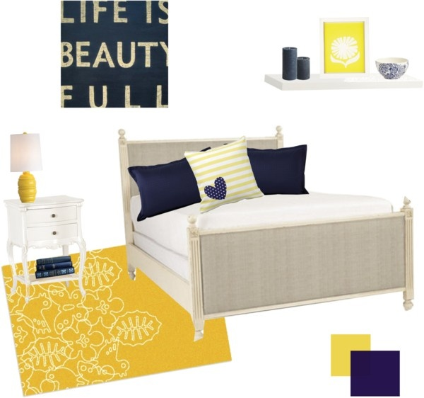 """""""Navy Blue & Yellow Bedroom"""" by shaleceelynne on Polyvore"""