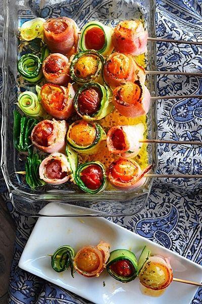 串に刺してトースターにほっとけ焼き 簡単 旨い お洒落  七夕仕様のきらきら 夏野菜串焼き