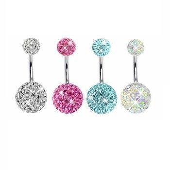 Lot of 4 Pieces Belly Button Ring Swarovski Crystal Stones Double Gem Clear, Pink, Aquamarine, ABCr