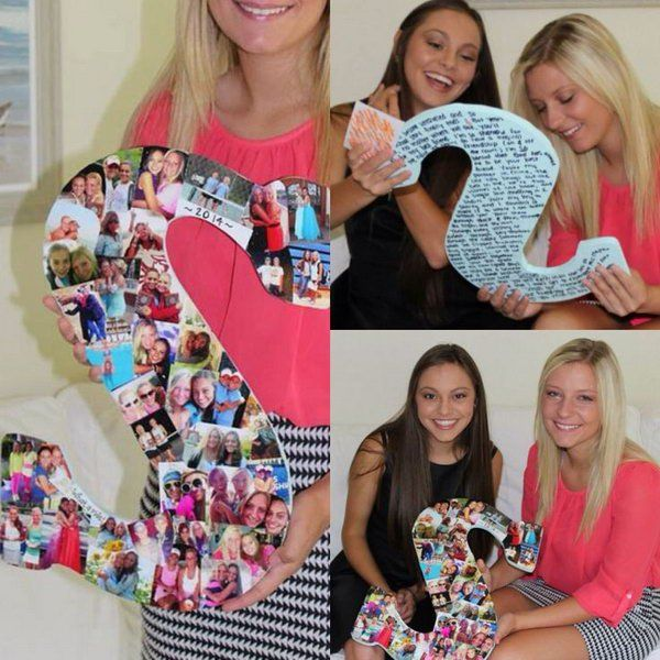 Wooden Letter Covered in Photos. This item can be used as a nice graduation present. It is very meaningful and sweet to give your best friend pictures of you being together in good times as a special keepsake.