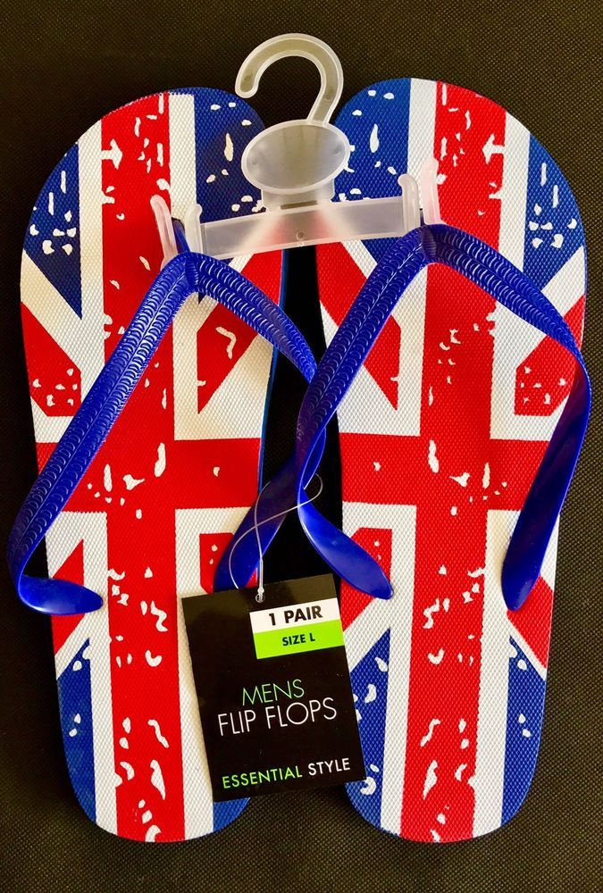 Union Jack Flip Flops Britain flag Essential Style Size L summer beach holiday