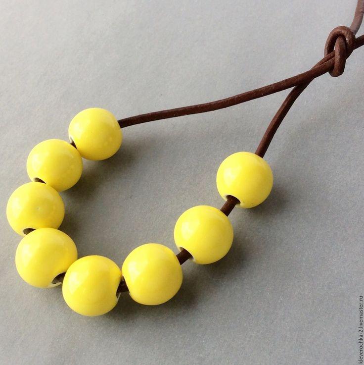 Купить _Керамические бусины 10 мм желтый шар для украшений - ceramic porcelain beads