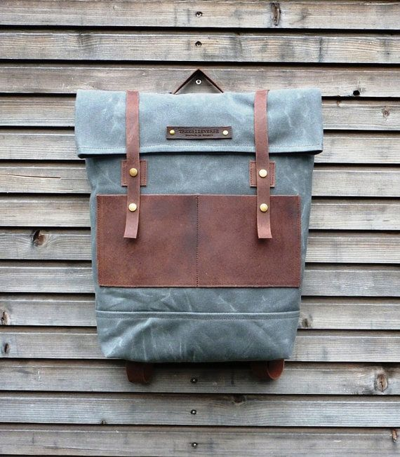 Waxed Canvas Leather Backpack.