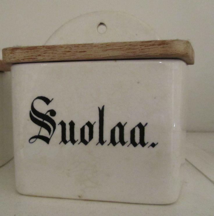 Vintage Salt Box from Arabia, Finland, 1920s
