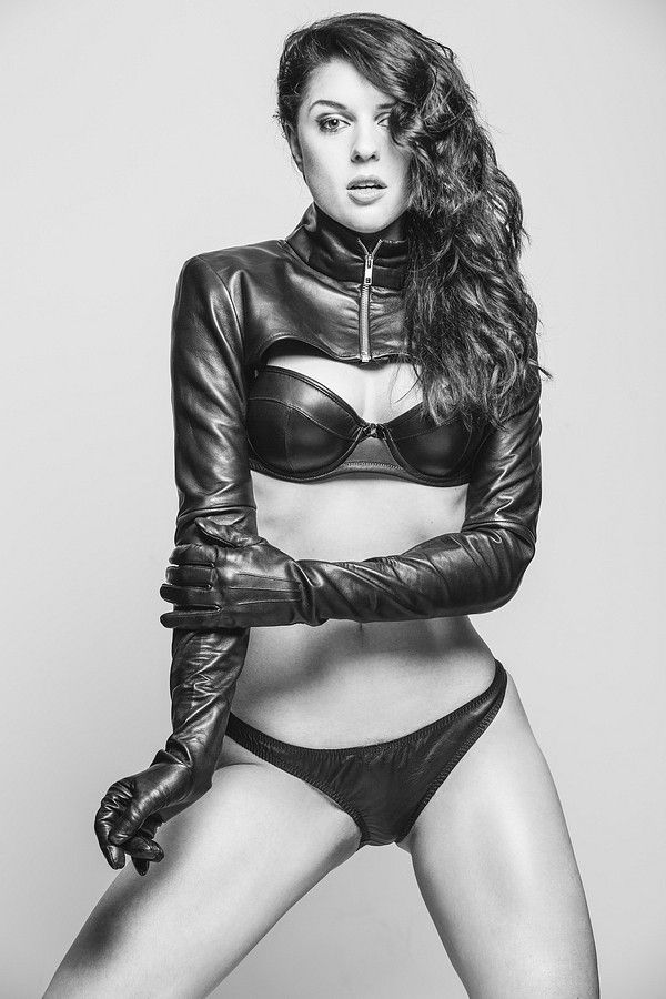 Leather lingerie and gloves