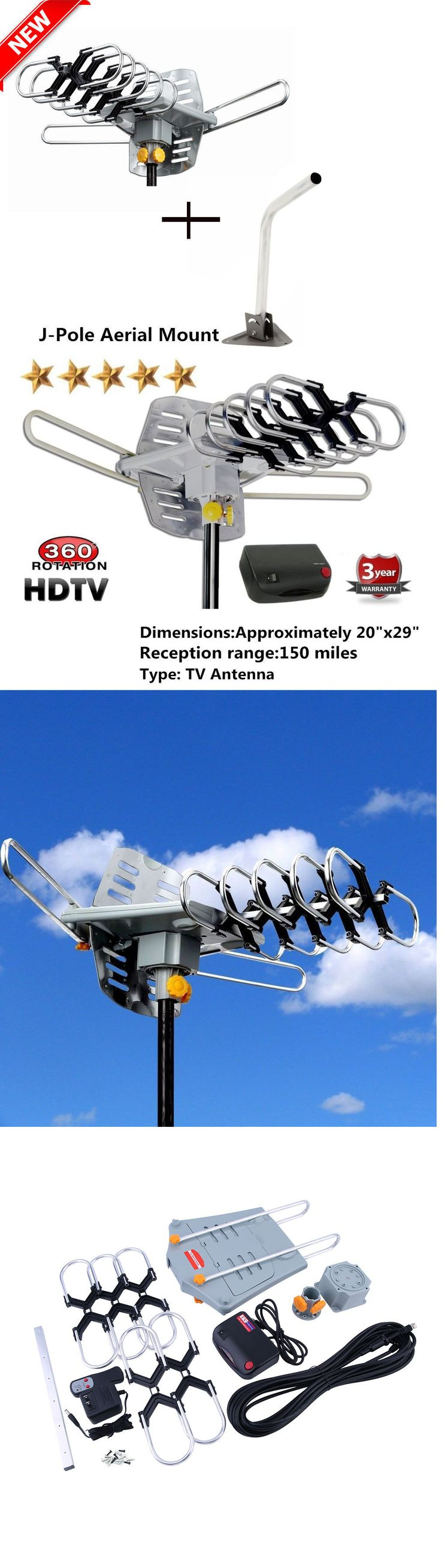 Antennas and Dishes: J-Pole Mast Mount + Outdoor Hdtv 36Db Rotor Antenna Remote 360°150 Miles Hd Tv K -> BUY IT NOW ONLY: $38.93 on eBay!