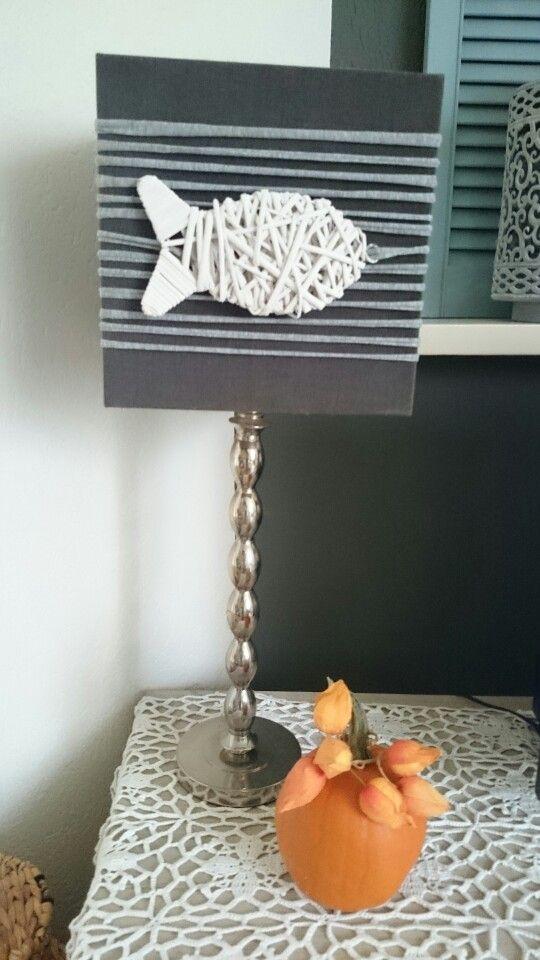 Updated lampshade, t-shirt yarn and fish