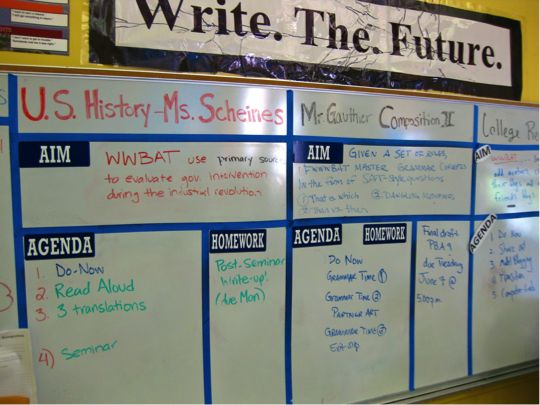 middle school classroom management | shared high school classroom's divided whiteboard