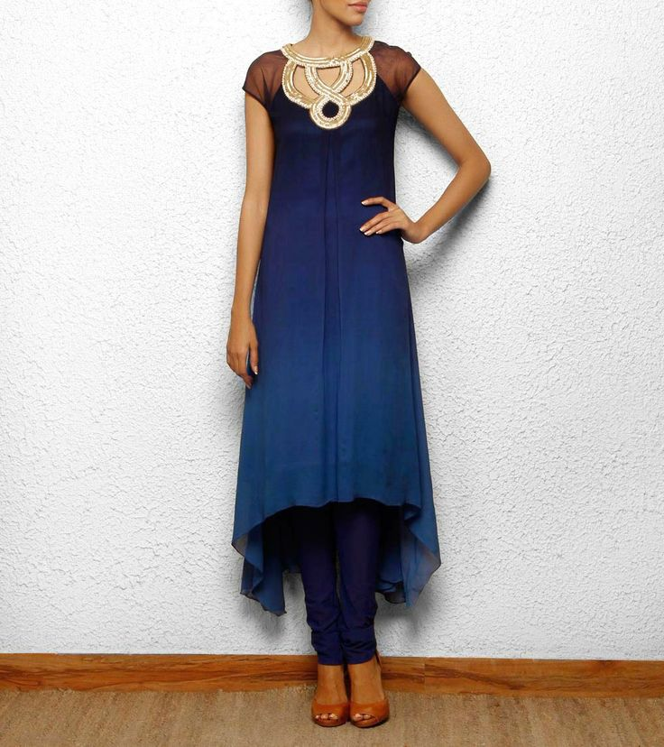 high low hem blue kurta cum dress with silver cutout hand embroidery Aneehka @ indianroots.com indo-western, fusion wear, destination wedding, tunic, india