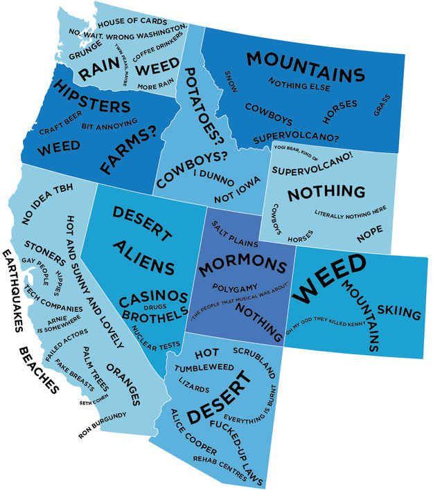 The West.   The Stereotype Map Of Every U.S. State — According To British People