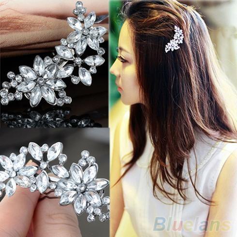 Wanita Pengantin Pengiring Pengantin Berlian Imitasi Bunga Kristal Rambut Klip Sisir Perhiasan 3ZJH