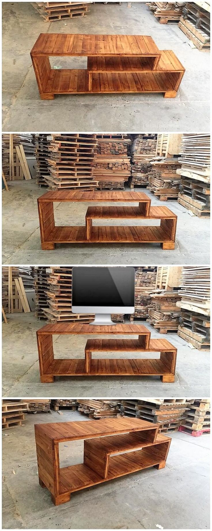 Here comes another interesting idea of the wood pallet creation for you which you would surely be finding so artistic and useful in so many purposes. You can name it as the TV stand creation that can be ideally used for setting up your decoration accessories.