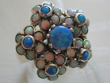 Traumhafter Feuer Opal 925 Silber Ring Blüten Antik Stil Gr. 17,8
