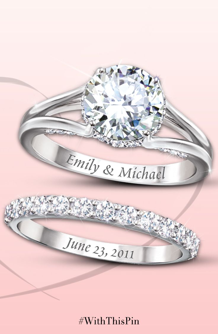Diamonesk Bridal Ring Set With Engraved Names And Date